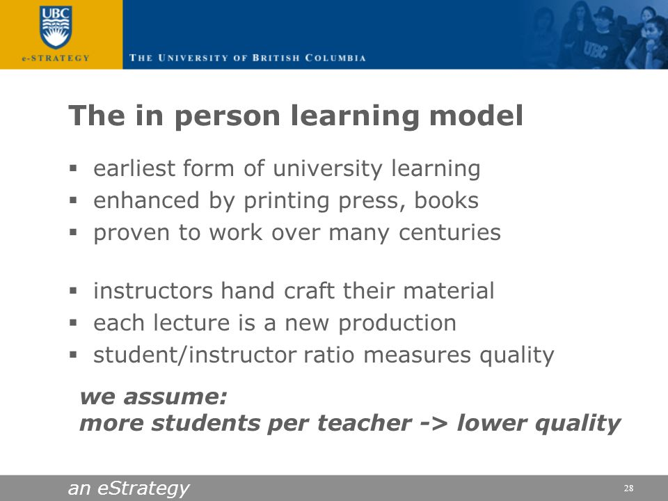 The in person learning model