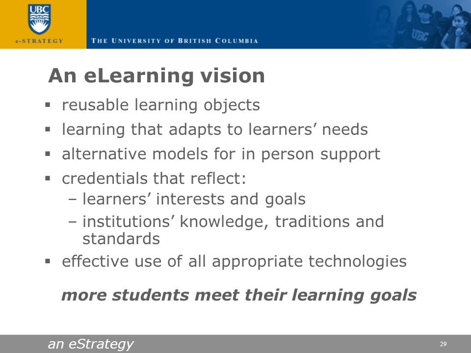 An eLearning vision reusable learning objects