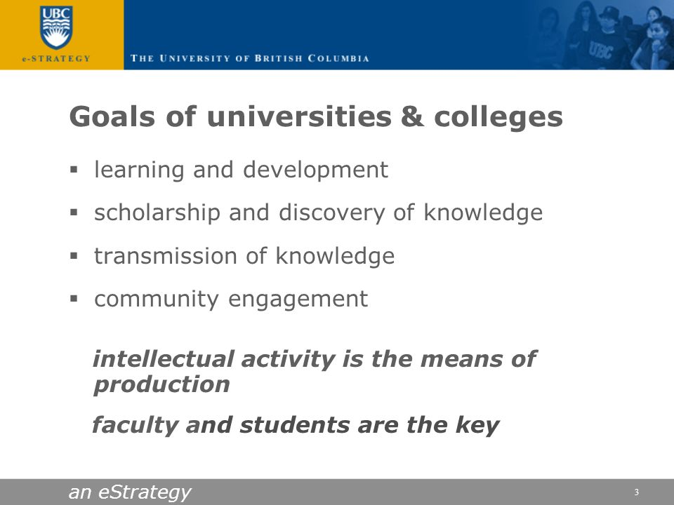 Goals of universities & colleges