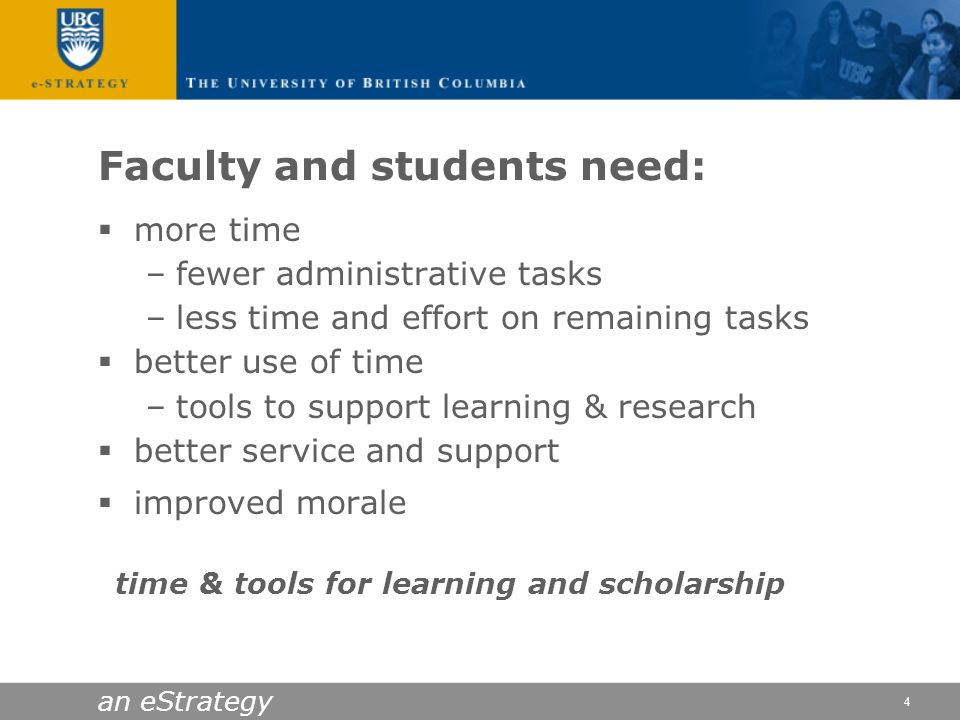 Faculty and students need: