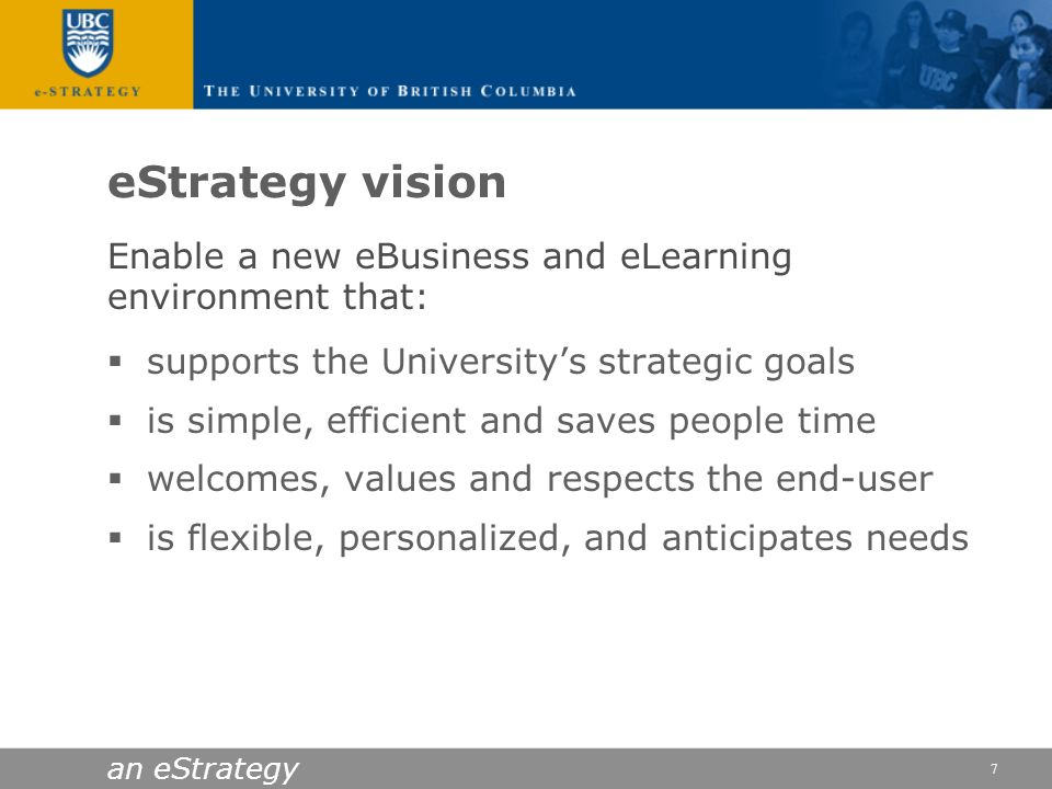 eStrategy vision Enable a new eBusiness and eLearning environment that: supports the University's strategic goals.