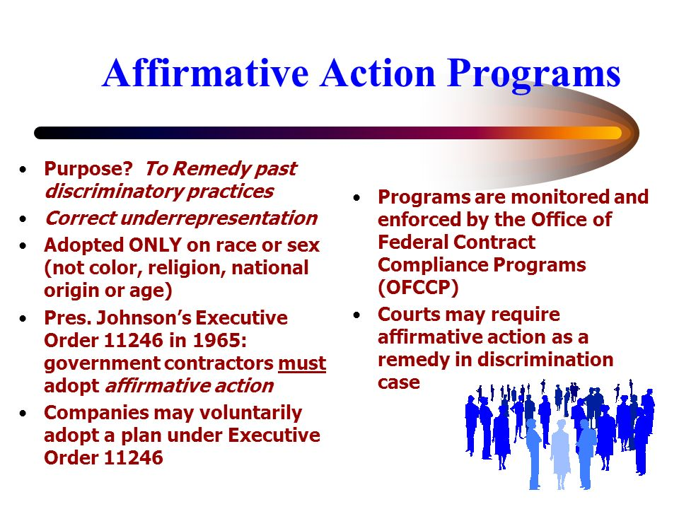 the main purpose of affirmative action In august of this year, the debate over affirmative action in higher  at this point,  and one that has been litigated to the point of obsolescence.