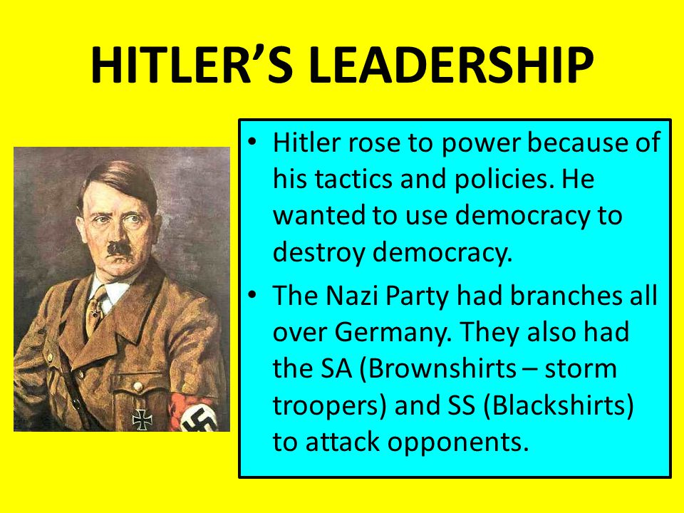 hitler rose to power because of In 'hitler,' an ascent from 'dunderhead' to demagogue focused on hitler as a politician who rose to power because the understanding.