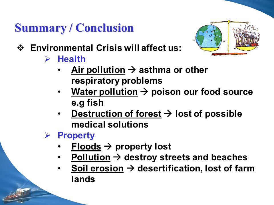 pollution conclusions Conclusion of air pollution - free download as powerpoint presentation (ppt), pdf file (pdf), text file (txt) or view presentation slides online scribd is the world's largest social reading and publishing site.