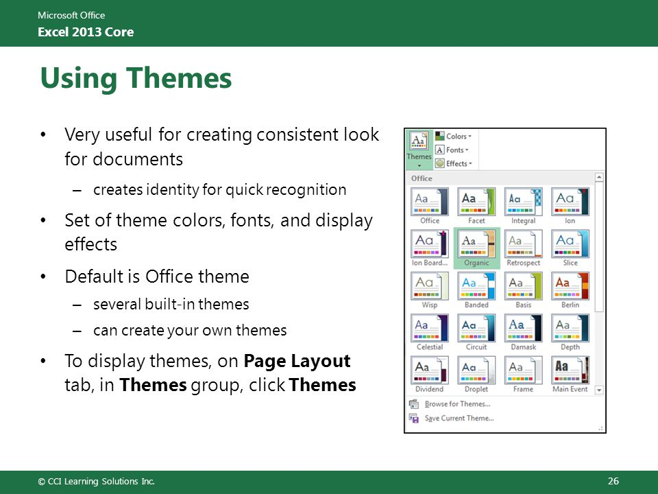 basis theme for excel 2013