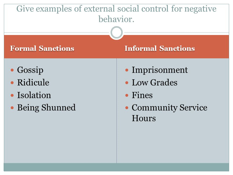 formal and informal social control A useful revision guide to social control, such as the formal and informal forms of social control and how they affect society, for gcse sociology.