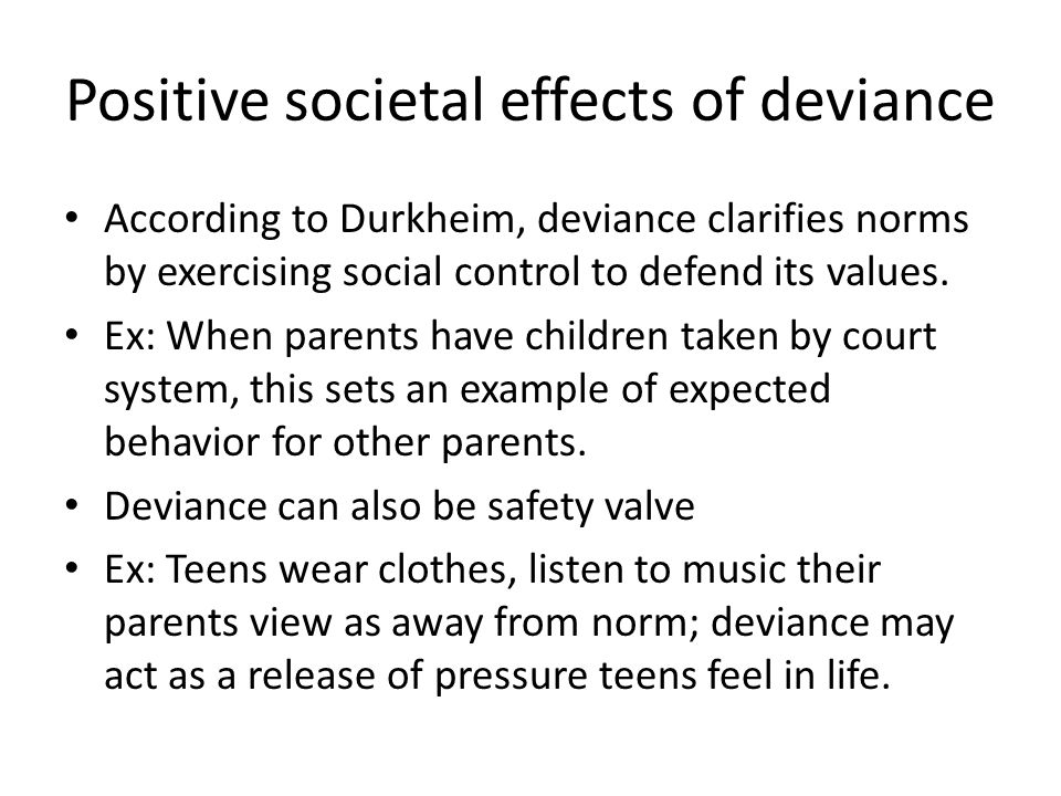 norms and deviances in the american society Just as a society like the united states has informal and formal norms (see   society have higher rates of deviance than other locations for example, us  cities.