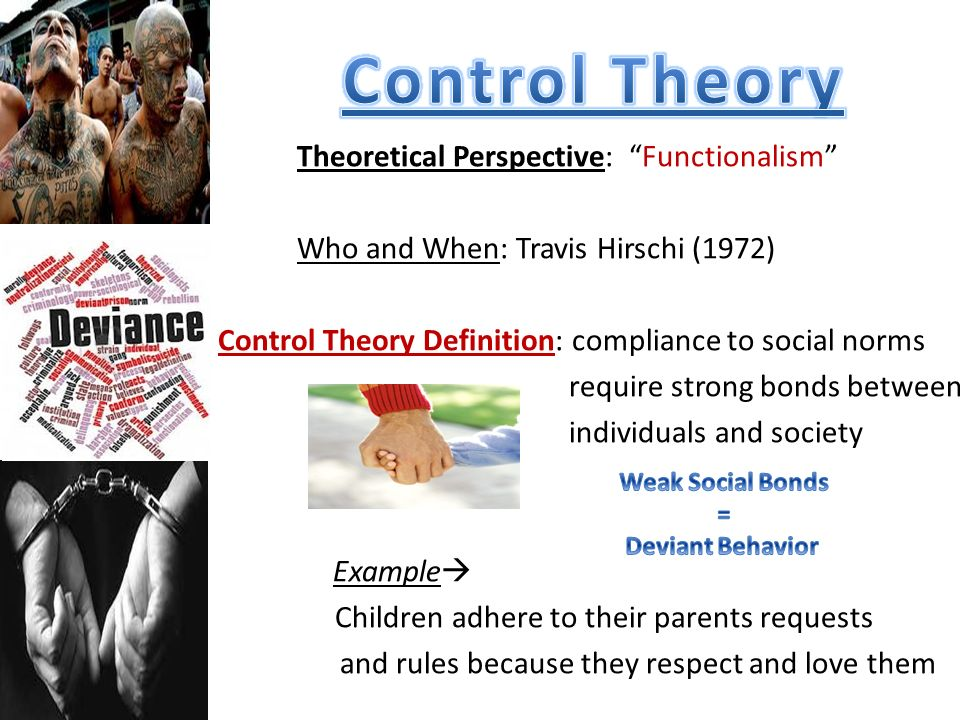 a description of the different social theories that help control deviant behavior Social control: definition & forms and someone else made something out of her deviant behavior (secondary deviance) in sociology: definition, theories.