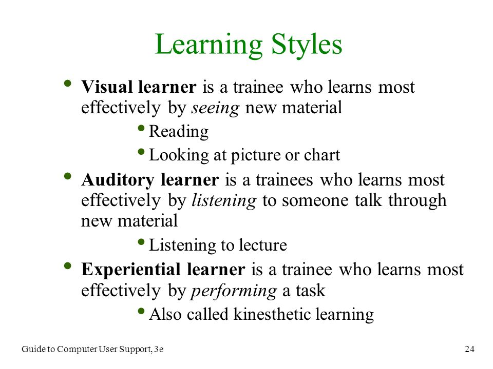 learning styles and the most preferred Athlete learning styles - a must-have for your coaching as their research has shown, by understanding your own learning style preferences and by developing your non-preferred learning styles, you can learn more efficiently and effectively their theory suggests there are four stages.