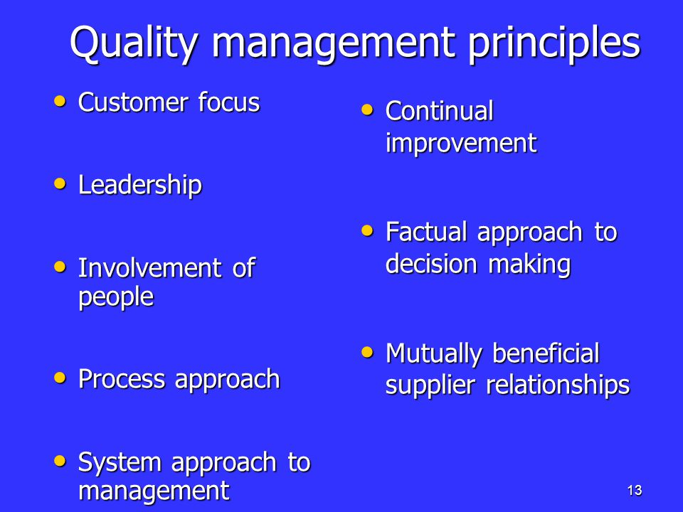 quality management principles Whatever other resources you use, you should adopt these seven important  principles of total quality management as a foundation for all your.