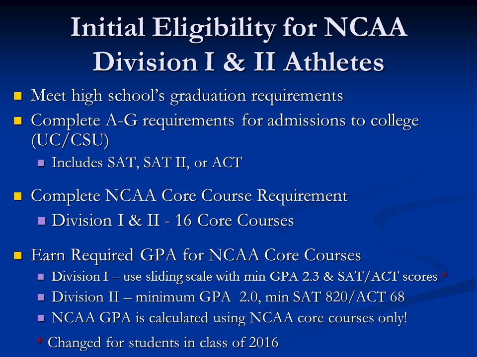 eligibility requirements to be a college athletes Eligibility requirements for college athletes student athlete eligibility ncaa org the official site incoming student athletes in divisions i and ii.