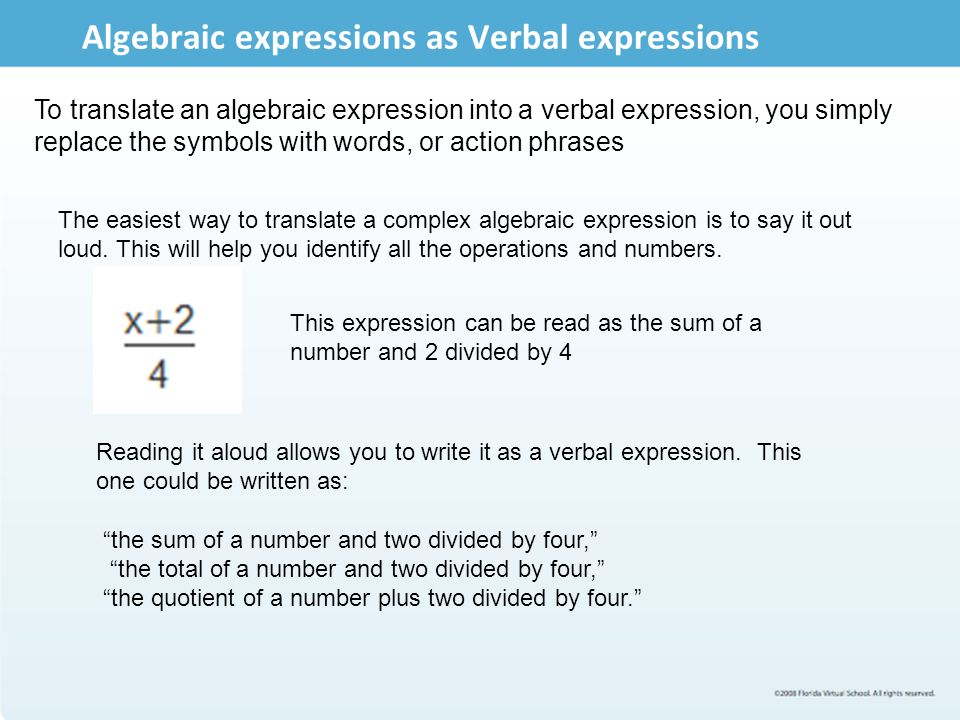 Translating Verbal Phrases in to Algebraic Expressions : Wizznotes ...