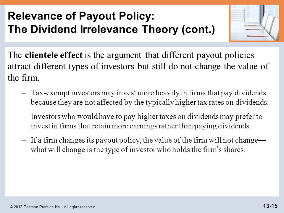 dividend irrevance theory We investigate the implication of clientele theories that changes in dividend  policy should result in a marked increase in trading volume as shareholder.