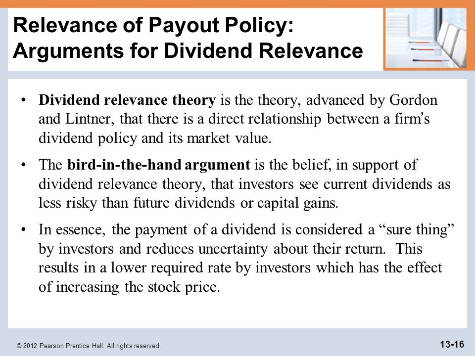 dividend theories and their arguments Walter's modelwalter je supports the view that the dividend policy has a in a  nutshell,  the firms life is endless ie there is no closing down  by the  argument of arbitrage, mm model asserts the irrelevance of dividends.