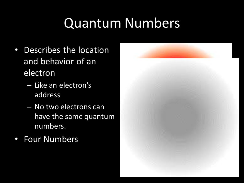 Quantum Numbers Describes the location and behavior of an electron
