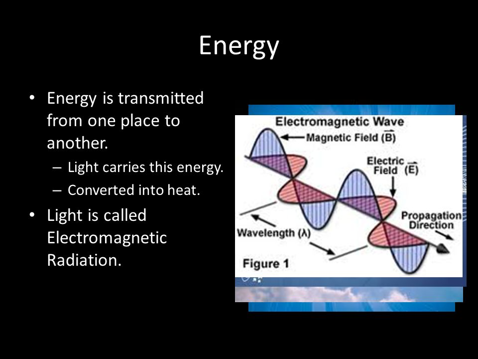 Energy Energy is transmitted from one place to another.