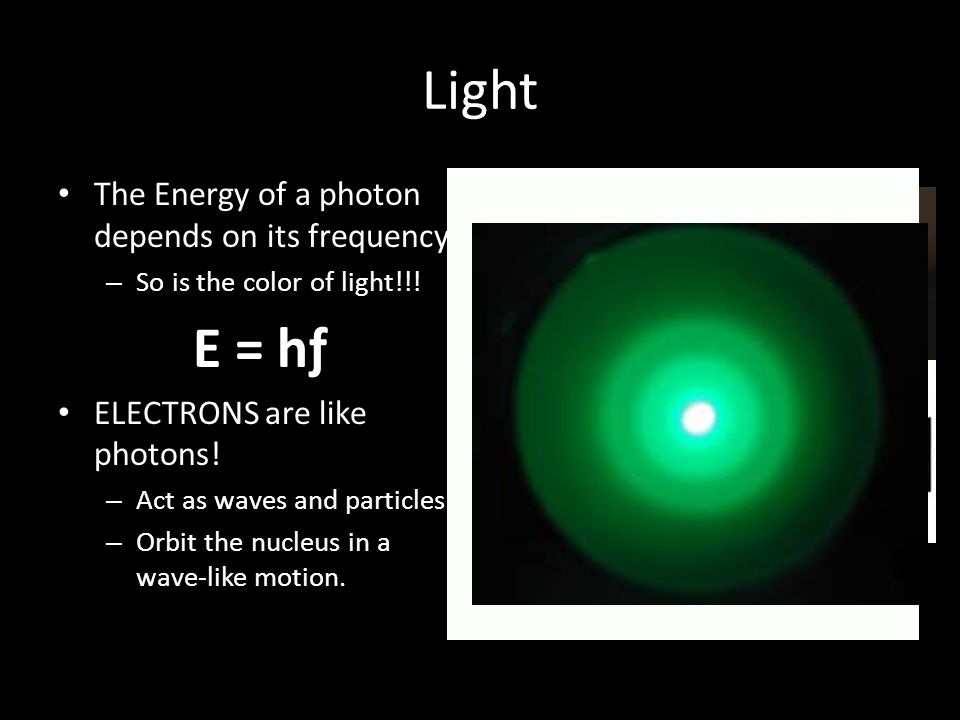 Light E = hƒ The Energy of a photon depends on its frequency.
