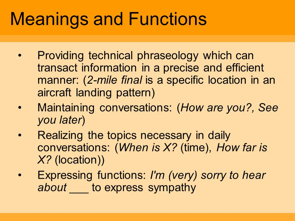 Meanings and Functions