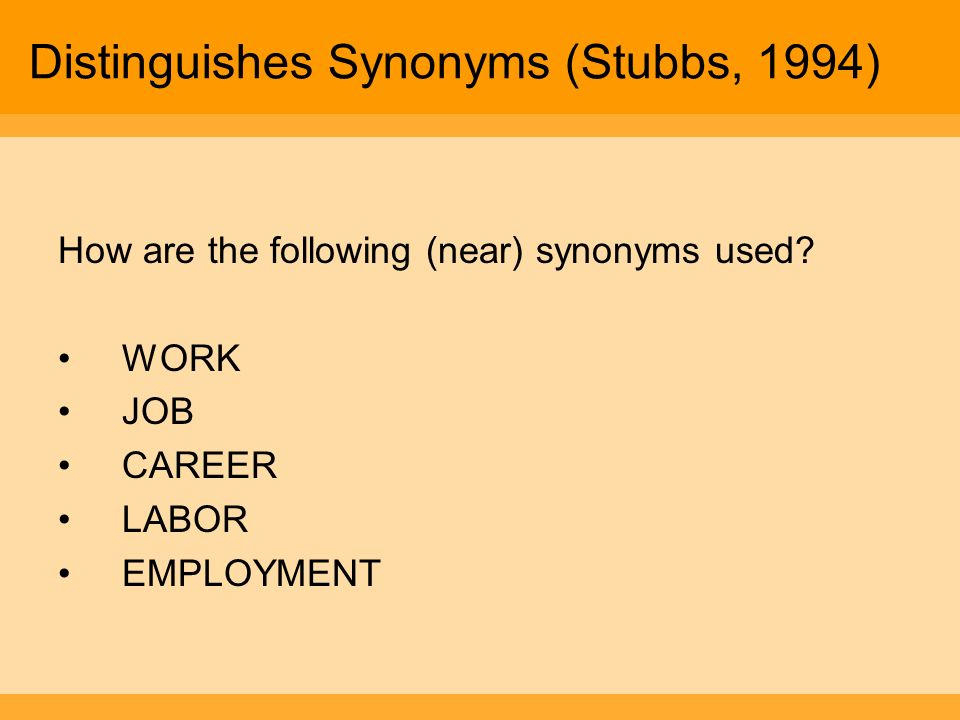 Distinguishes Synonyms (Stubbs, 1994)