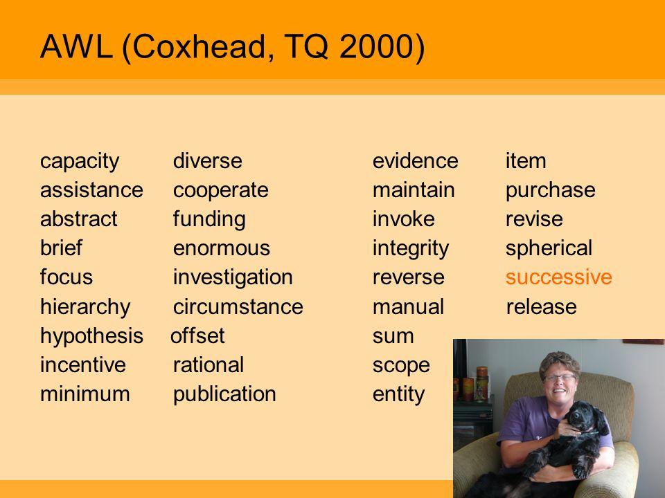 AWL (Coxhead, TQ 2000) capacity diverse evidence item