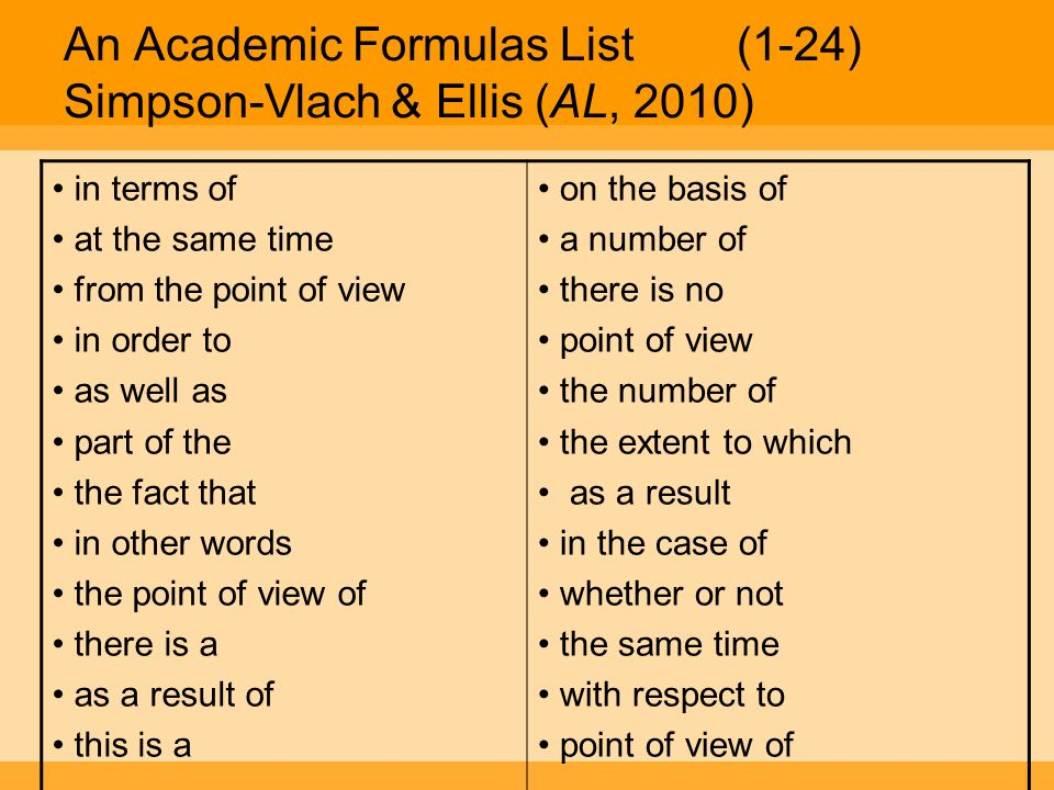 An Academic Formulas List (1-24) Simpson-Vlach & Ellis (AL, 2010)