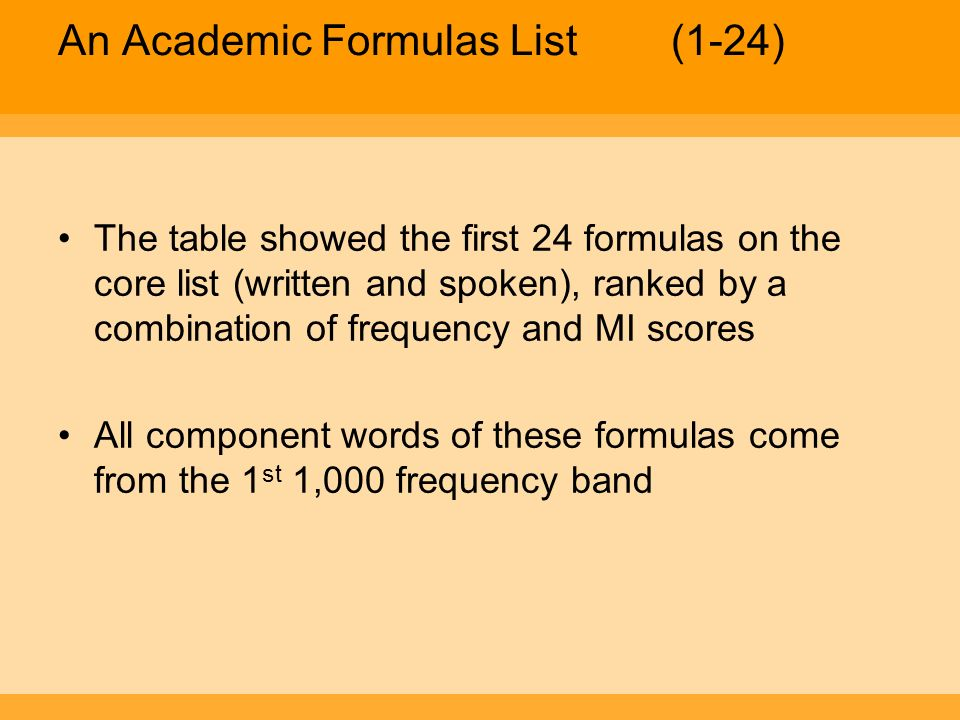 An Academic Formulas List (1-24)
