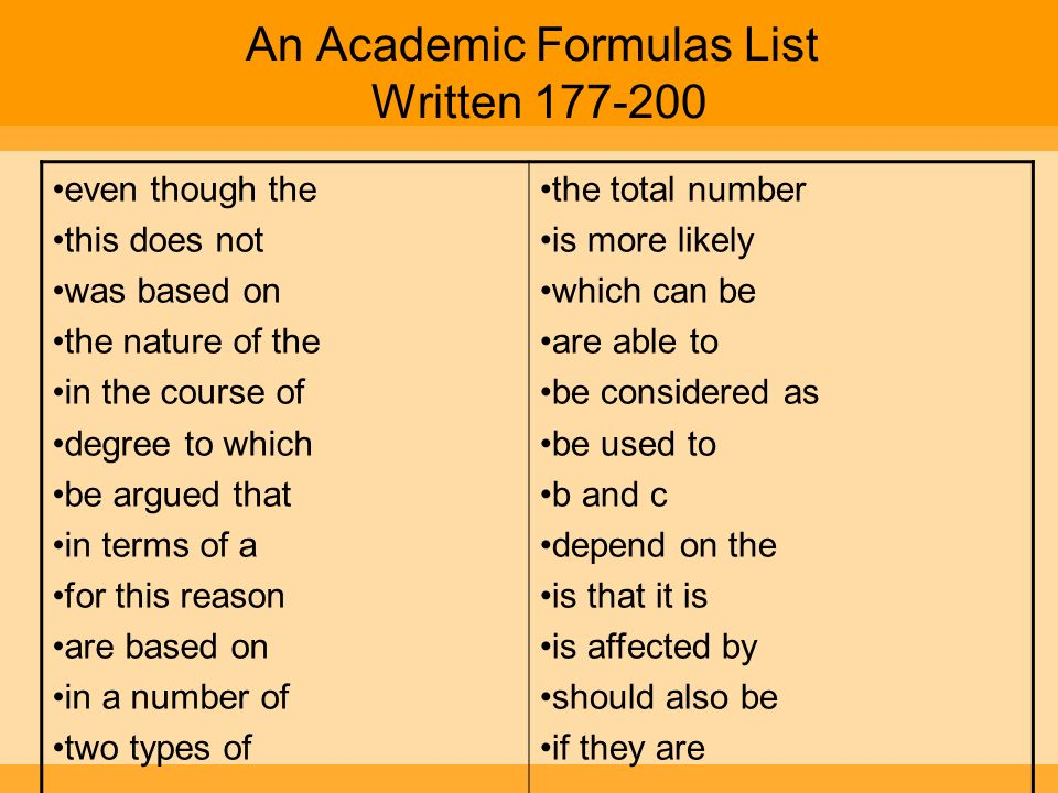 An Academic Formulas List Written 177-200