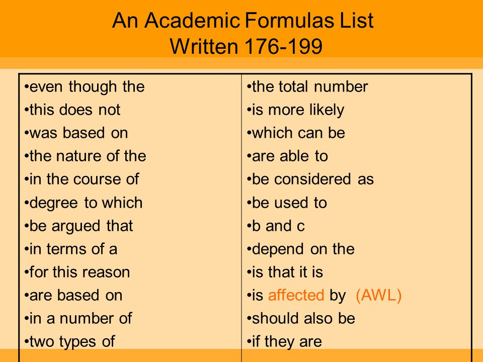 An Academic Formulas List Written 176-199