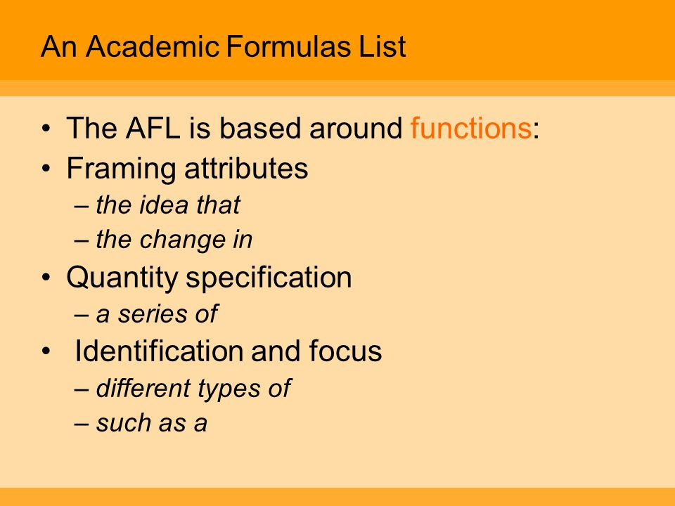 An Academic Formulas List