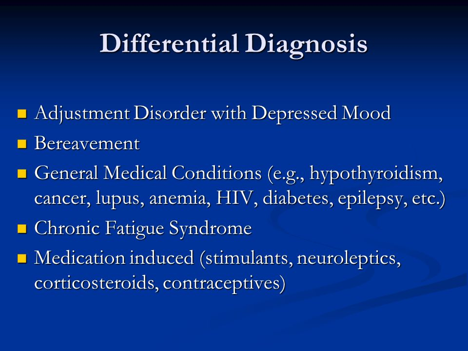 adjustment disorder diagnosis and treatment A comprehensive approach works quite well when treating an adjustment  disorder because the.