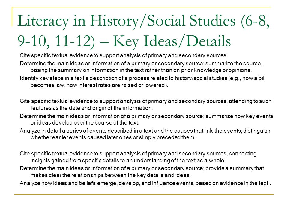 Teaching literacy in the disciplines and teaching disciplinary 63 literacy in historysocial studies 6 8 fandeluxe Gallery