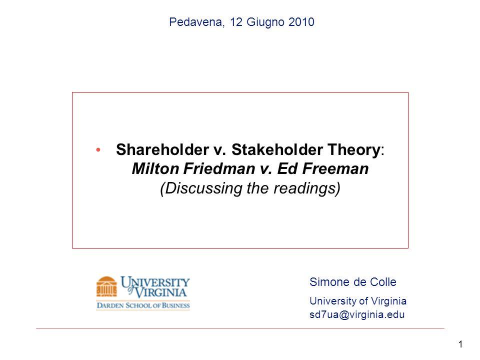Pedavena, 12 Giugno 2010 Shareholder v. Stakeholder Theory: Milton Friedman v. Ed Freeman (Discussing the readings)