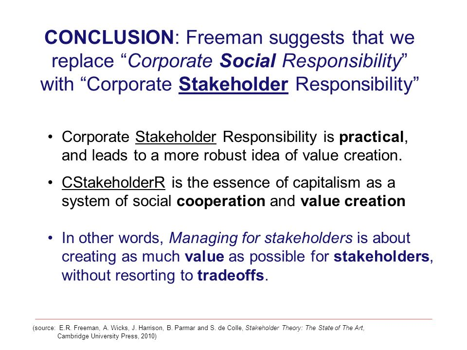 CONCLUSION: Freeman suggests that we replace Corporate Social Responsibility with Corporate Stakeholder Responsibility