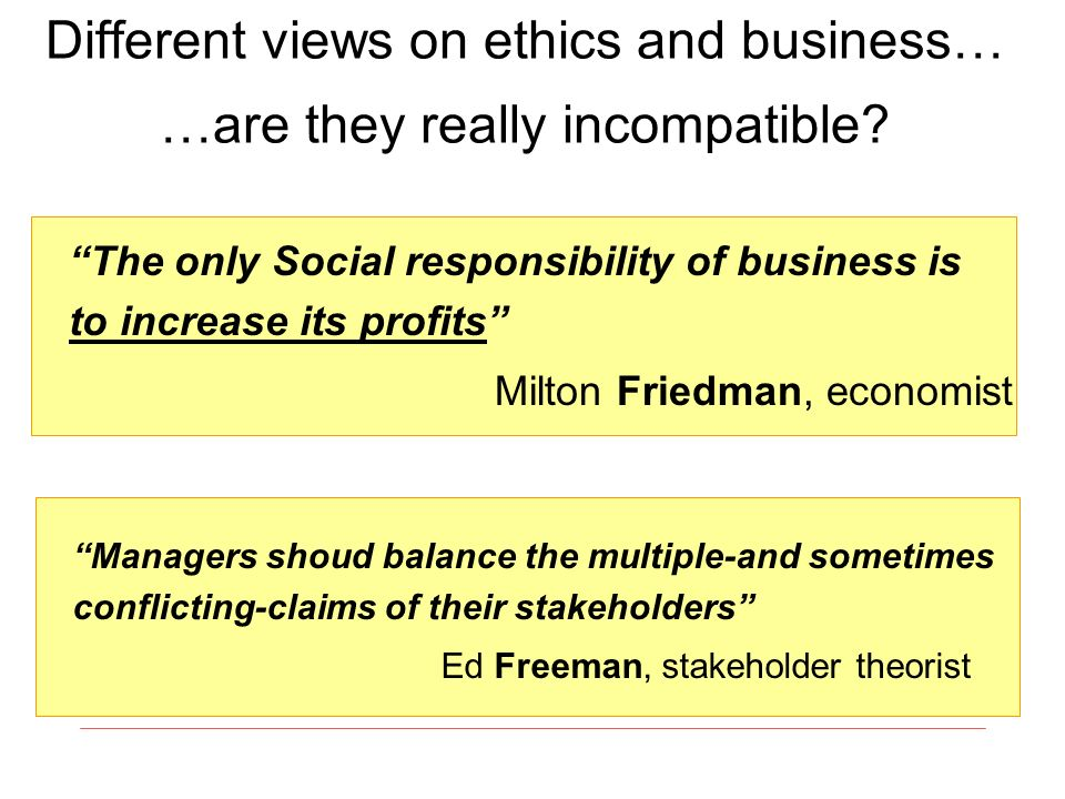 Different views on ethics and business… …are they really incompatible