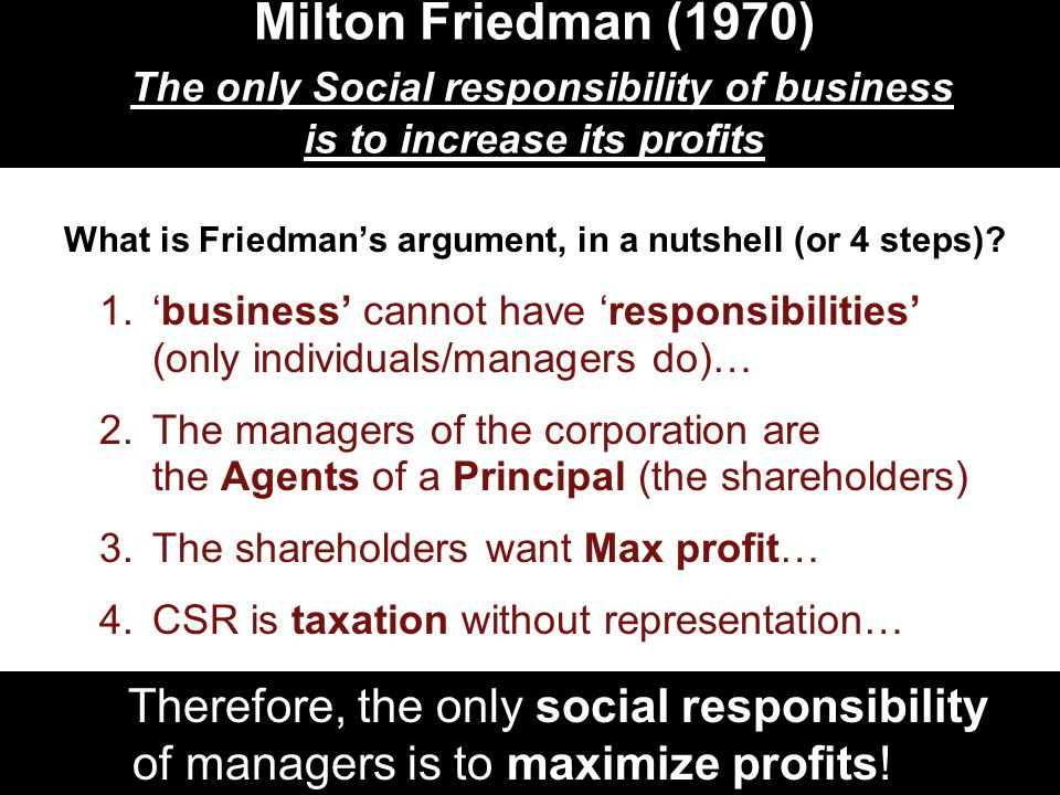 milton friedman social responsibility Since the publication of the social responsibility of business is to increase its profits (milton, 1970), business economics and management scholars have grappled with the idea of the aim of businesses and whether it solely should be based on profits.