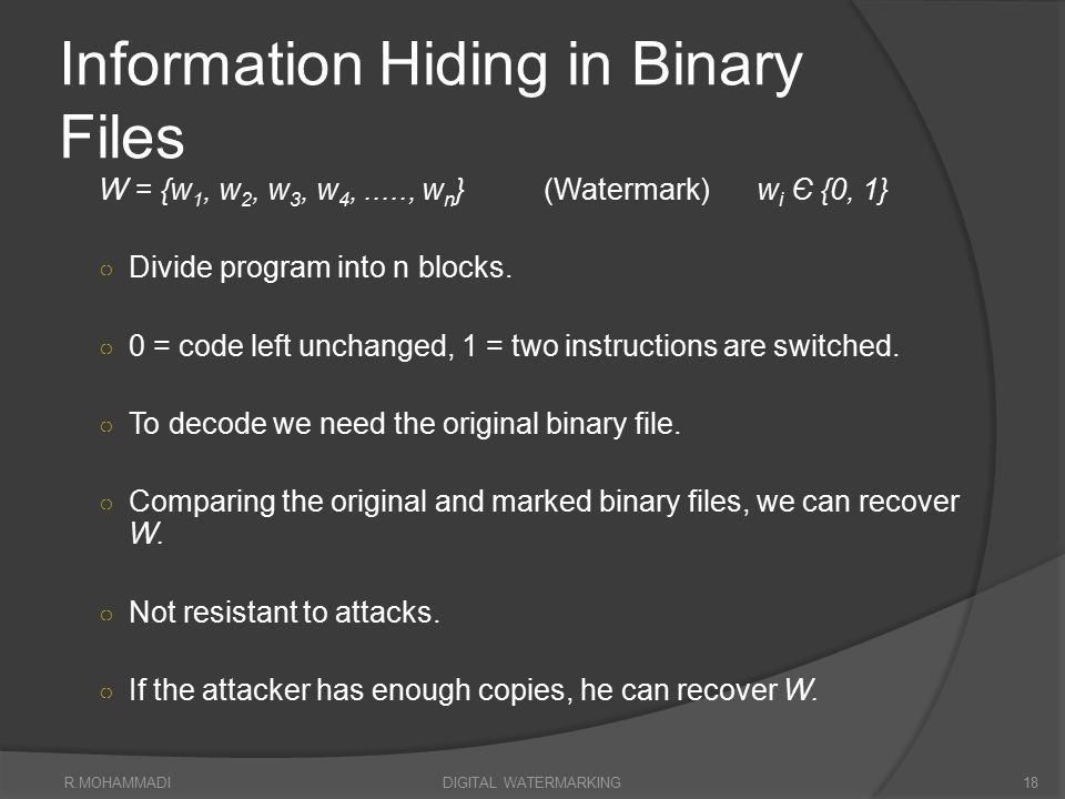 Information Hiding in Binary Files