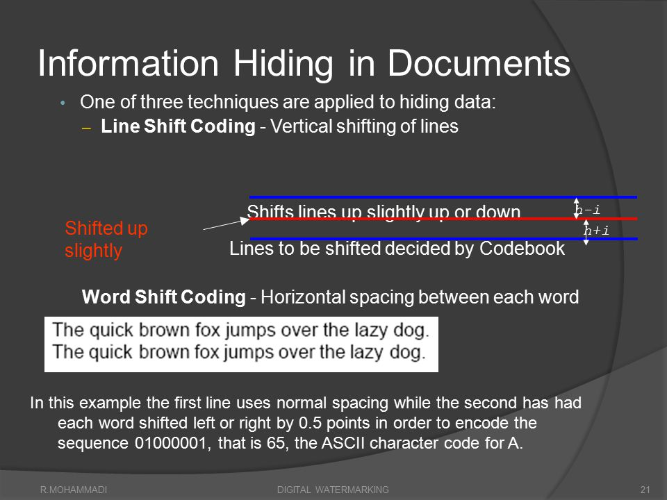 Information Hiding in Documents