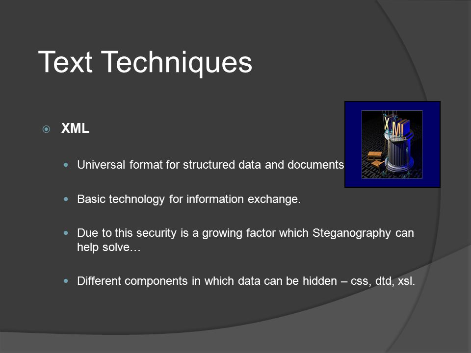 REZA MOHAMMADI Text Techniques. XML. Universal format for structured data and documents. Basic technology for information exchange.
