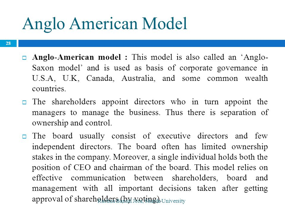 anglo american model of corporate governance finance essay The company to raise finance, but also has a positive effect on the share price   key words: corporate governance, traditional model of corporate governance,   from the ones mentioned above, the traditional anglo-saxon system and islamic  system  the aim of this paper was to clarify the term of corporate governance, .