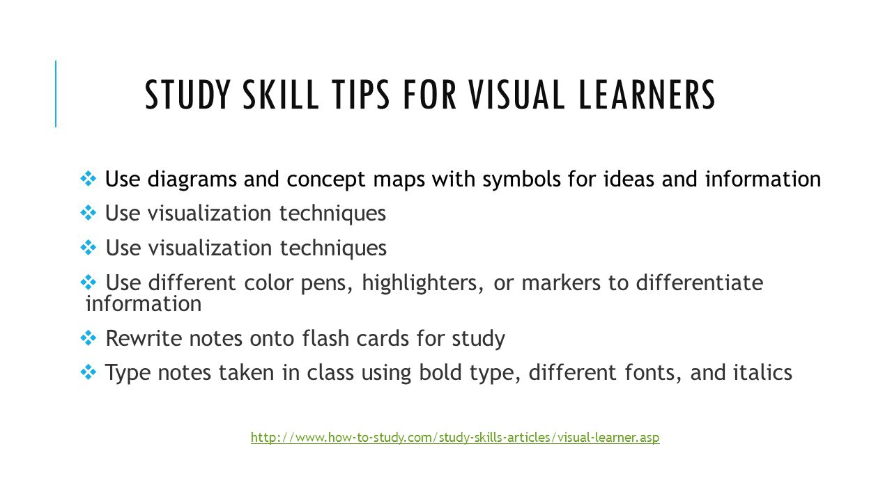 tips for visual learners Home nursing tips 5 types of learners – study tips for nursing students nursing tips visual learner this is the most predominant among all learning styles.