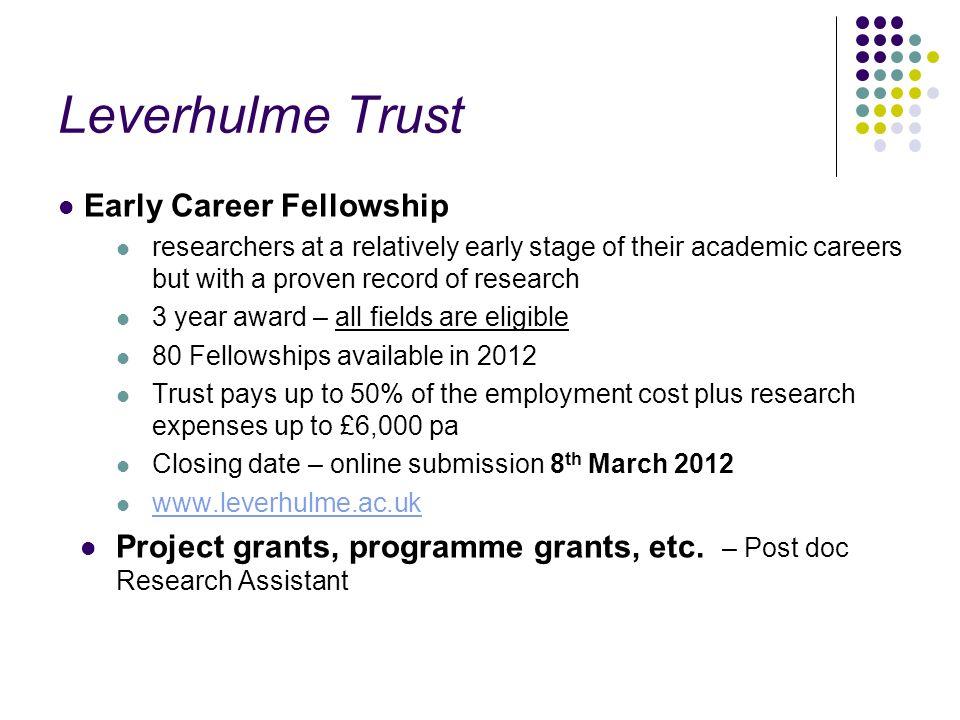 Leverhulme Trust Early Career Fellowship