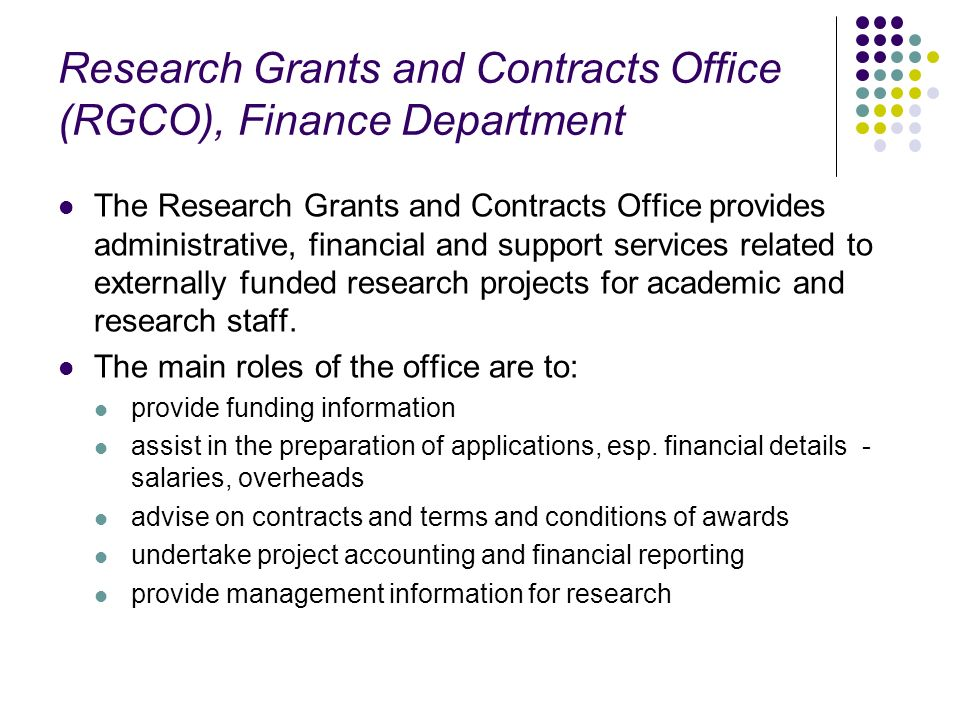 Research Grants and Contracts Office (RGCO), Finance Department