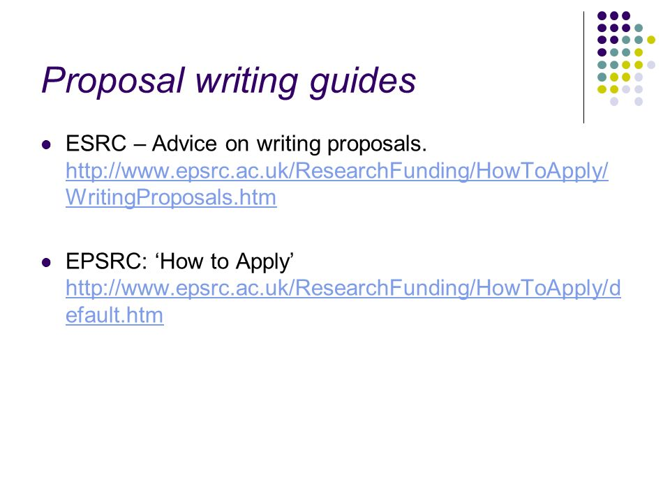 Proposal writing guides
