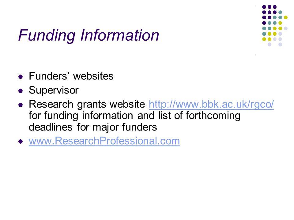 Funding Information Funders' websites Supervisor