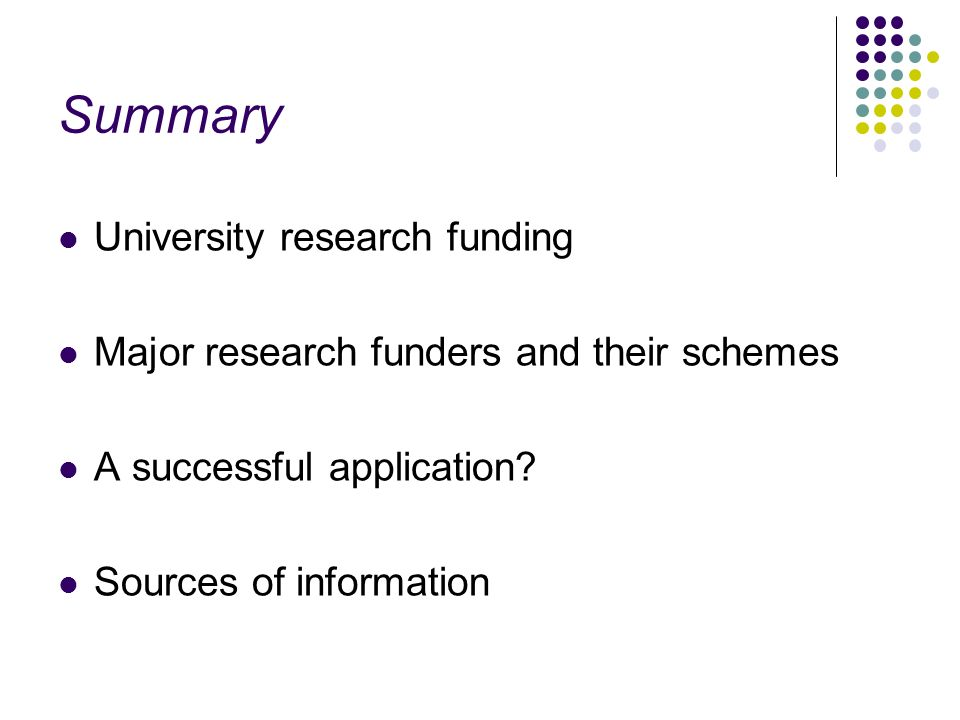 Summary University research funding