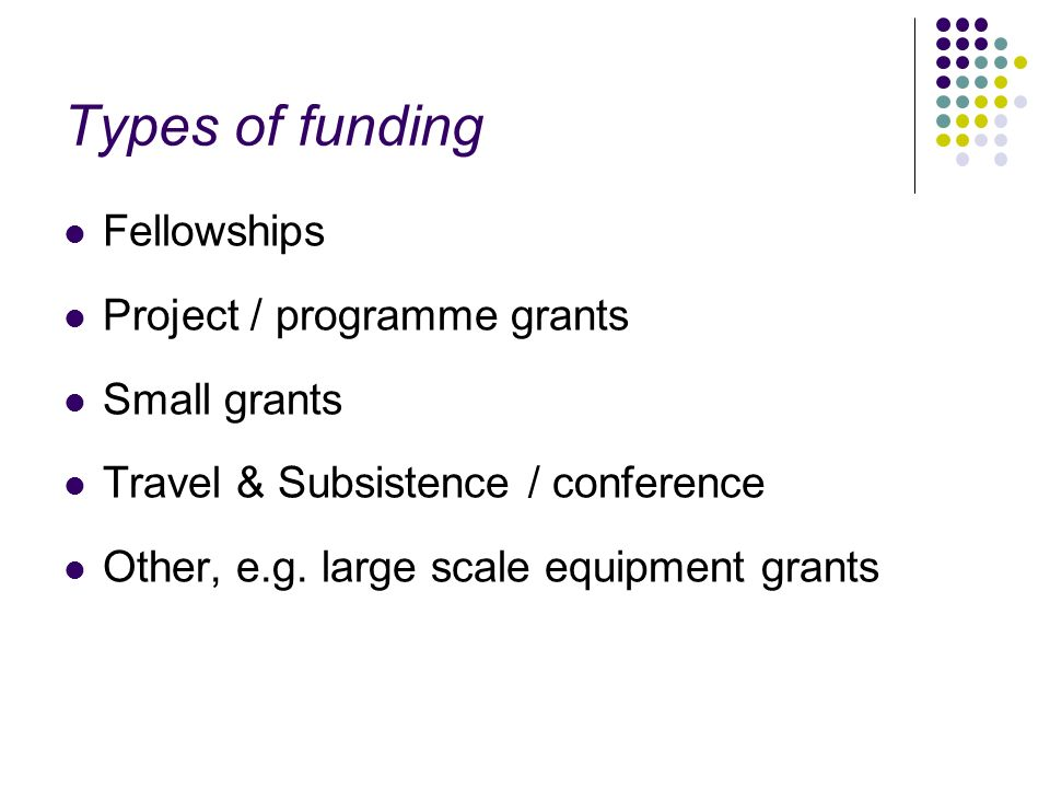 Types of funding Fellowships Project / programme grants Small grants