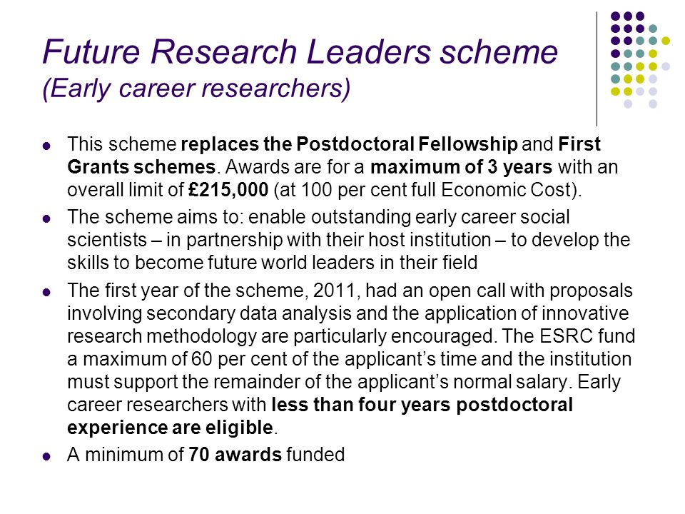 Future Research Leaders scheme (Early career researchers)