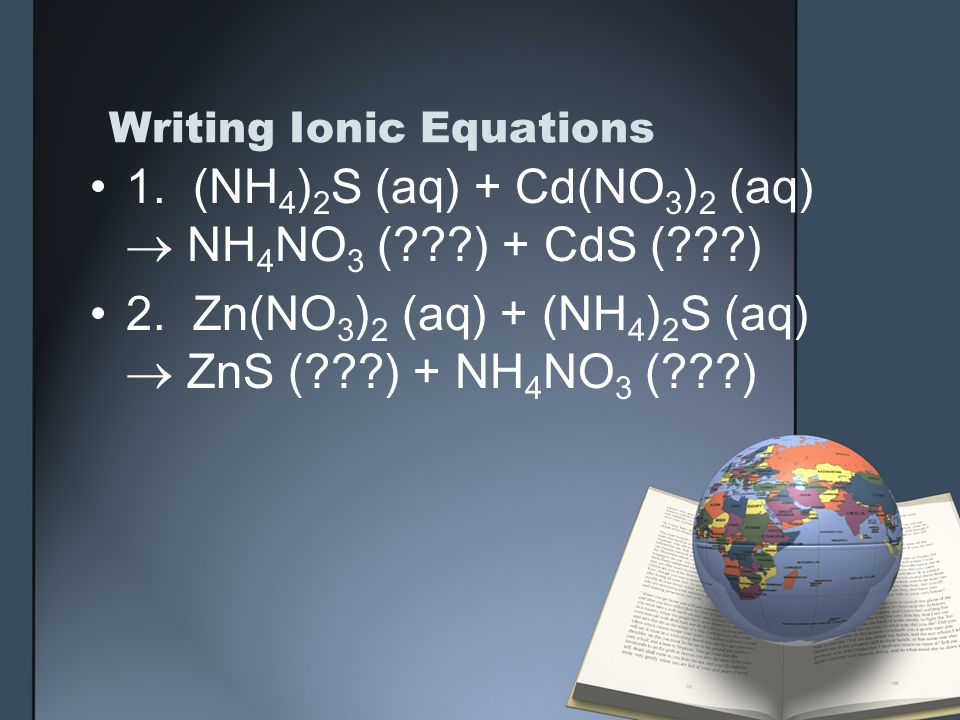 writing ionic equations Write the ionic equation for the word equation sodium chloride(aq) + silver nitrate(aq) → silver chloride(s) + sodium nitrate(aq) solution: step 1: write the equation and balance it if necessary nacl(aq) + agno3(aq) → agcl(s) + nano3(aq) step 2: split the ions.