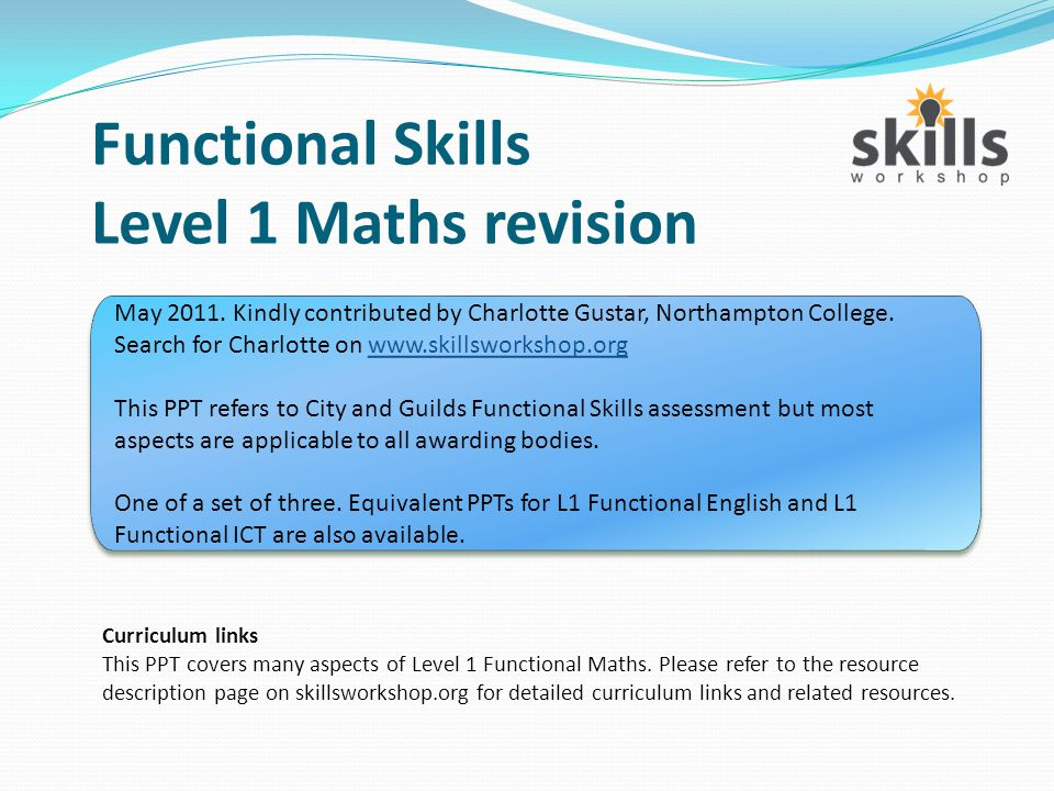 Functional Skills Level 1 Maths revision - ppt video online download