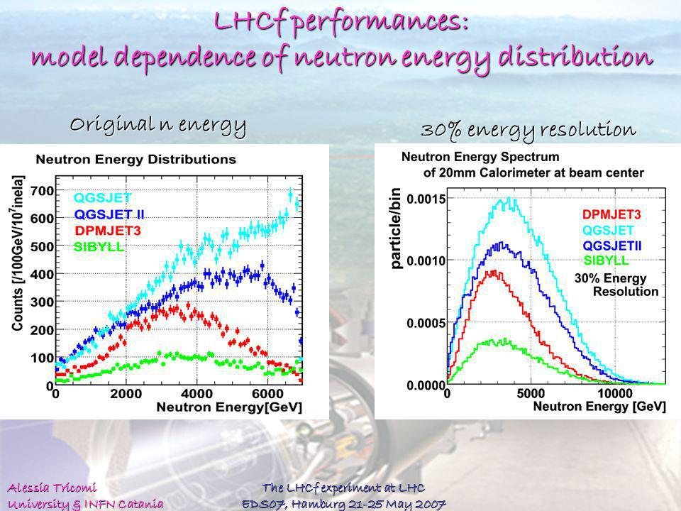 LHCf performances: model dependence of neutron energy distribution